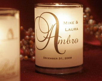 """Assembled Classic and """"Big Letter"""" Place Card / Name Card / Escort Card / Wedding Favor / Candle Votives with candles"""