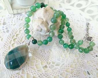 Green Agate Necklace, Silver Pendant and Green Agate Gemstone, Women for Charm, Elegant Necklace, Turkish Jewelry, OOAK, Mother's Day Gifts