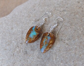 Boulder Opal earrings -  handmade in Australia by NaturesArtMelbourne - brown turquoise natural stone jewelry