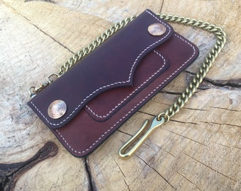 Leather chain wallet biker wallet  long wallet men's wallet