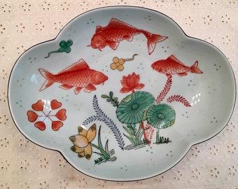 Hand-Painted Koi Fish Bowl - Andrea Sadek Japan - Colorful Asian Style Decor - Chinoiserie Style Bowl Dish