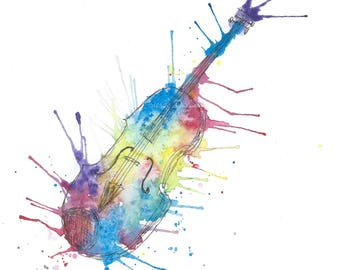 Watercolor Painting, Watercolor Violin Painting, ACEO Print, Abstract Painting, Mini Art Print Small Abstract Watercolor Print ACEO Painting