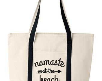 Canvas Beach Tote, Namaste at the Beach Bag, Funny Beach Tote Bag
