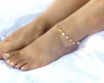 Gold Disc Anklet, Summer Gypsy Anklet, Dainty Gold Anklet, Gold Beach Anklet, Boho Anklet, Dangling Gold Coin Anklet, Gold Chain Anklet
