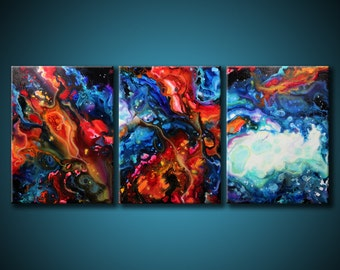 24x54 ORIGINAL Abstract Painting Modern Acrylic Blue, Teal, Red. Fine Art by Federico Farias