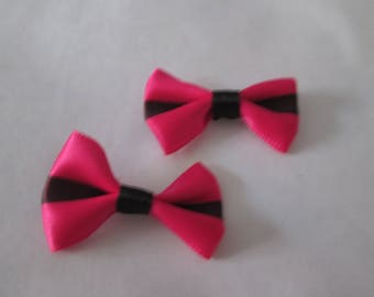2 lovely fuchsia satin bow and black 37 x 25 mm