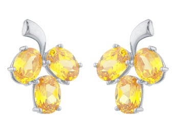 9 Ct Yellow Citrine Oval Shape Design Stud Earrings