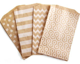 "12 Medium Flat Kraft Bags . Mixed Pack White Polka Dots, Stripes, Chevron & Honeycomb . 5"" x 7.5"""
