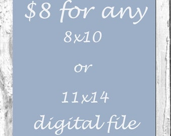 DIGITAL FILE of any 8x10 or 11x14 print in my shop ( 8 dollars)