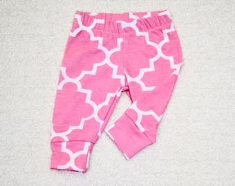 Girl  Cuff Leggings cotton knit, Quatrefoil Pink  baby girl leggings, baby leggings, girl pants,   Baby Gift
