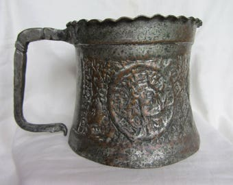 Huge Antique hand hammered copper mug, metal container. Indo Persian Islamic/hand made tinned. Rare collectible. Vintage Steampunk decor