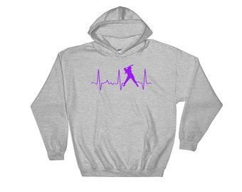 Cute Softball Hoodie - Softball Mom Hoodie - Softball Mom Gear - Purple Softball Heartbeat - Softball Dad Gear - Fun Softball Sweatshirt