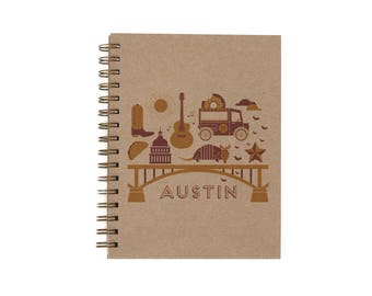 Austin Journal - Notebook | Lined Pages | Spiral Bound | Letterpress | Hard Cover