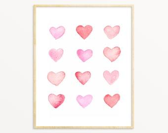 Pastel Watercolor Hearts. Light Pink Modern Art Print. Unique Nursery Art. Pink/Red Minimalist Art.