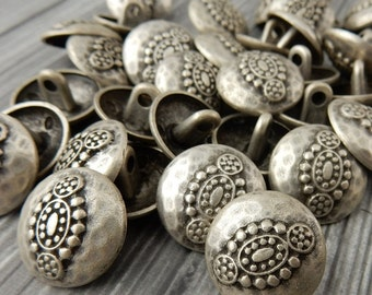 Hammered Tribal Buttons, Antique Silver Metal Button, 20mm Qty 4 , Bali Style, Great for Leather Wrap Clasps or Clothing