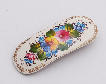 Handmade and handpainted Russian white barrette hair clip with artist's signature inside Free Shipping plus free gift!