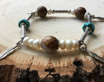 JASPER Stretch Bracelet With Freshwater Pearls and Genuine Turquoise