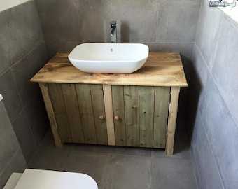 Rustic Wooden Vanity Unit 75 Cm Wide Bathroom Vanities  Etsy UK