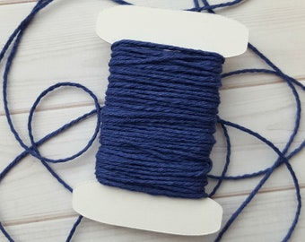 10 Yards Solid Midnight Blue Baker's Twine, Solid Navy Baker's Twine, The Twinery Baker's Twine, 100% Cotton
