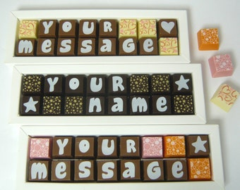 Personalised Chocolates - Chocolate Messages - Messages in Chocolate - Chocolate Gift - Name in Chocolate - Personalised Message Chocolate