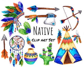 Hand Drawn Native Clip Art, native clipart, southwestern clip art, hand drawn teepee, dream catcher, chief headdress, native nursery, PNGs