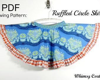 Ruffled Circle Skirt Sewing Pattern sizes 3m through 8 girls PDF Instant