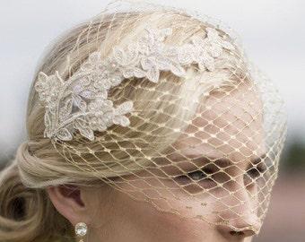 Gold Veil, Birdcage Veil, Metallic gold birdcage veil, Vintage style veil, French netting veil, Blusher veil, Bridal Headpiece, Bridal veil