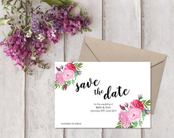 10 Personalised Save the Date Cards with Envelopes - Pretty Pink Floral Bouquet