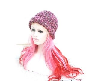 Womens Beanie Chunky Knitted Ribbed Winter Hat