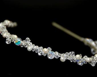 Swarovski Crystal& Fresh Water Pearl  Bridal Headband Tiara