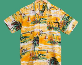 HAWAIIAN vintage shirt, green and yellow pattern 80s 90s S