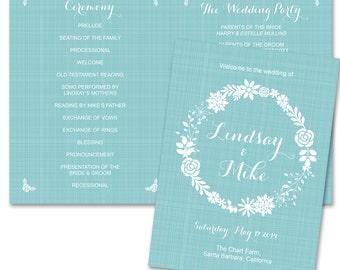 Printable Wedding Program Template - Floral Flower Linen Wedding Ceremony Suite - Seaside Ocean Beach Wedding Welcome Brochure Card - WP05