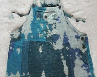 PRICE REDUCED Bleach Distressed Blue Mini Overall Dress