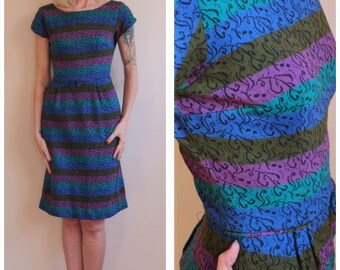 1960s Dress // Joan Lee Striped Knit Sheath Dress // vintage 60s dress
