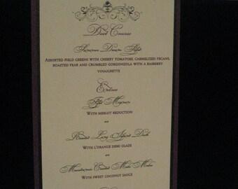 Elegant Purple Black and Ivory Layered Wedding Menu with Swarovski Crystal