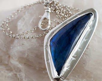 Blue Labradorite Pendant in Sterling Silver Hand Stamped Handmade