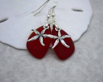 Red Sea Glass Earrings, Star Fish, Starfish Earrings Seaglass Earrings Starfish Jewelry Sea Glass Jewelry Beach Jewelry Seaglass Jewelry 069