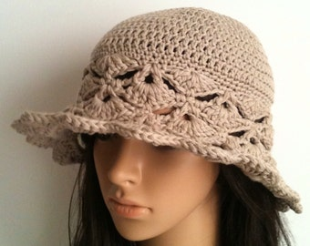 Crochet Cotton Floppy Hat... Women's Cotton Crochet Sun Hat ....  Crochet  Wide Brim Hat