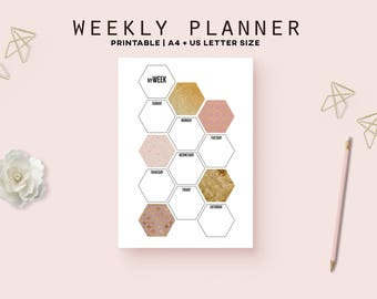 Girly weekly planner inserts, gold planner, printable planner pages, geometric print, weekly schedule, productivity planner instant download