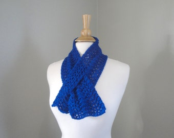 Royal Blue Neck Scarf, Pull Through Ascot, Alpaca Wool, Knitted Cowl Neck Warmer, Great Gift