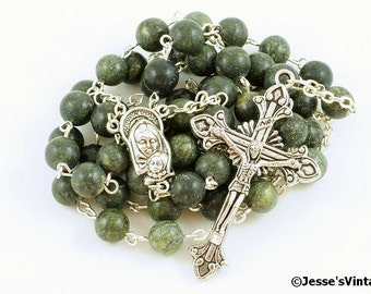 Catholic Rosary Beads Green Black Russian Serpentine Natural Stone Silver Traditional Five Decade