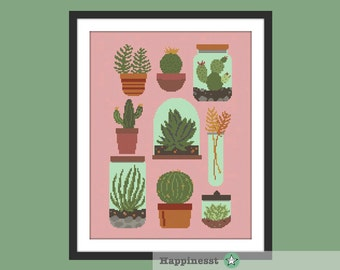 Cross stitch pattern cactus collection sampler, modern cross stitch, cactus, succulent, cacti, window, PDF pattern ** instant download**