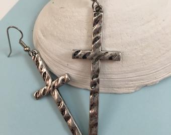 Long Cross Earrings~Cross Earrings~Silver-Tone Cross Pendants~Cross~Antiqued Hammered Silver-Tone Pendants~
