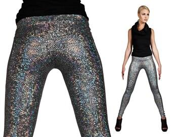 Silver Leggings w. Jeans Back, Holographic Clothing, Burning Man Leggings, Futuristic Leggings, Luxury Leggings, EDC Costume, by LENA QUIST