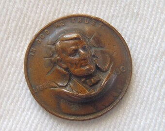 Vintage Repousse Pop Out Coin 1930 Wheat Penny Abraham Lincoln