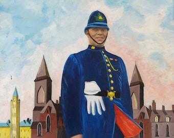 Acrylic Portrait Painting, Acrylic Painting, Art, Canadian Police Uniform, Toronto Canada Police Portrait, Portrait Painting