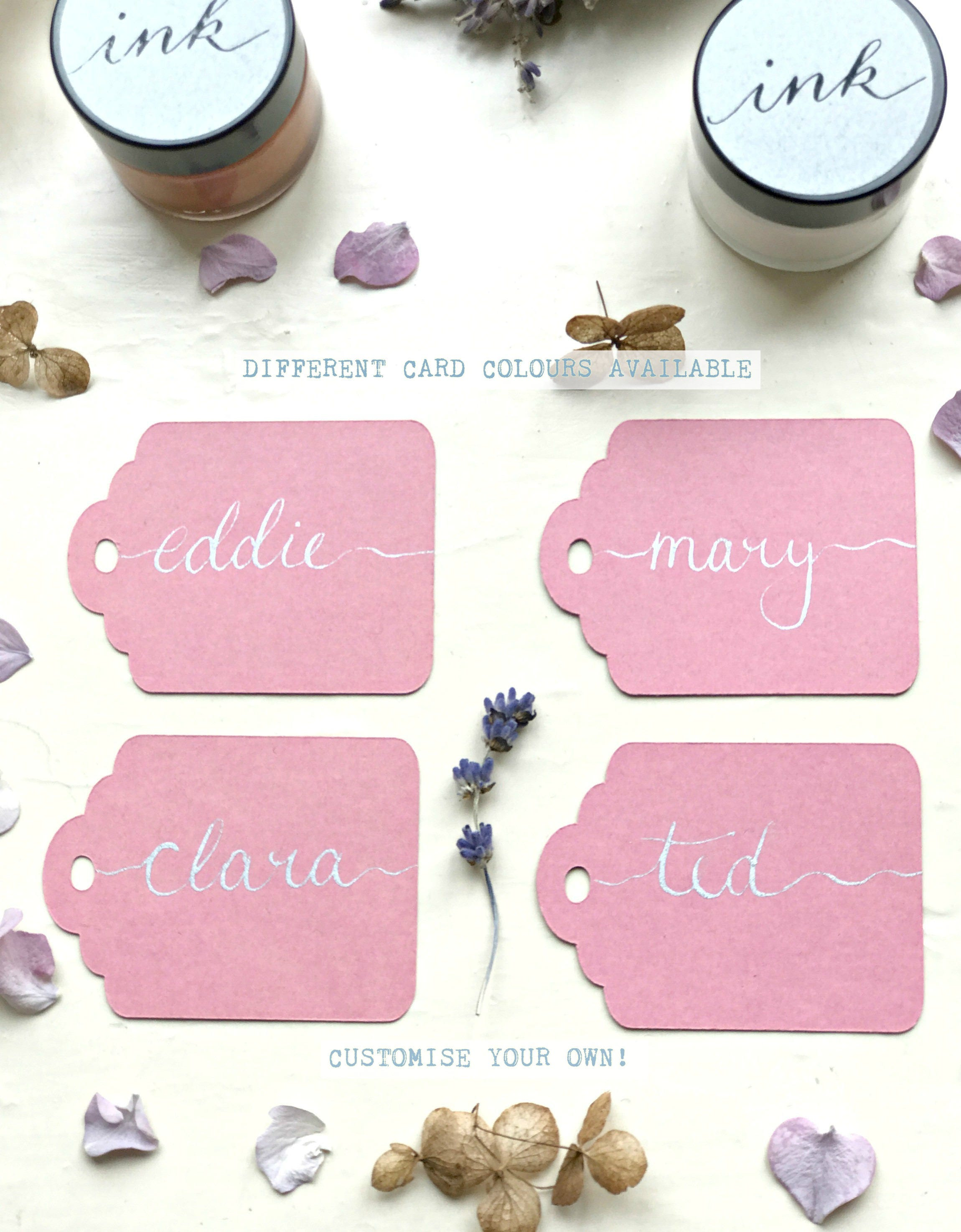 Pink Name Tags Handwritten Scalloped Name Tags Gift Tags