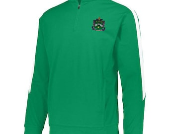 Delta Sigma Phi Twill Name Crewneck Sweatshirt (Kelly Green/White) cjPhay8M