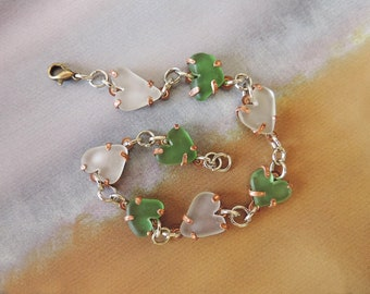 Copper and Sea Glass Bracelet - Hearts sea glass bracelet