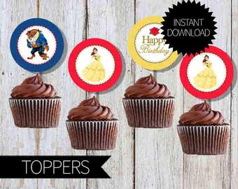 Beauty and the Beast Birthday Party Printable Cupcake TOPPERS- Instant Download | Disney | Princess Belle